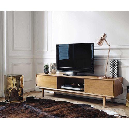 Solid oak TV unit W 160cm
