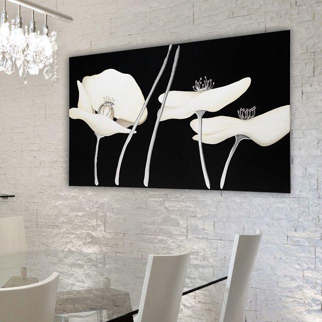 """P2882 - Papaveri bianchi  """"PINTDECOR"""" cm 120x70  Decorato a mano con dettagli in resina a rilievo e foglia argento su struttura telata.  #quadro #p2882 #papaveri #pintdecor #foglia #argento #pannello"""