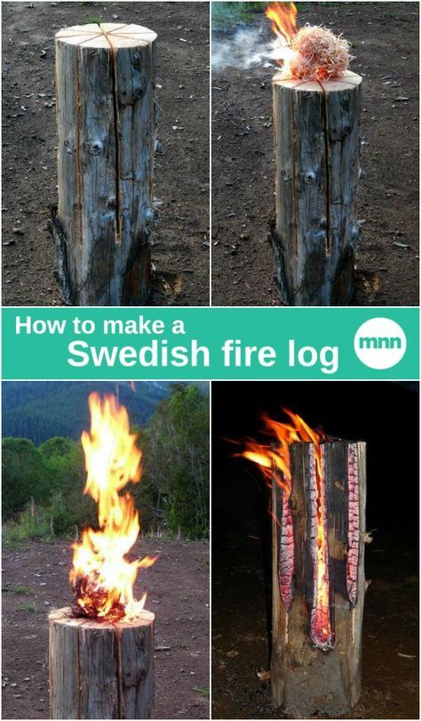 A Swedish fire log, also known as a Canadian candle, is a log that has been vertically cut and set on fire. The log burns from the inside out and the fire can last for two to five hours depending on the size and material of the wood.