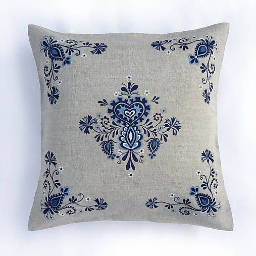 Modrý kvetinový folk 40x40cm ručná maľba
