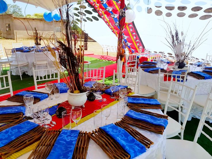 Siswati Blue & Red Traditional wedding decor @ShongaEvents
