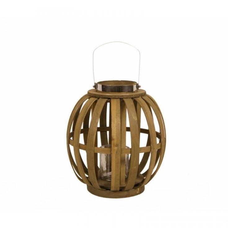 Φανάρι ξύλινο καφέ με μέταλλο Διάμετρος 32 Χ Ύψος 36 cm