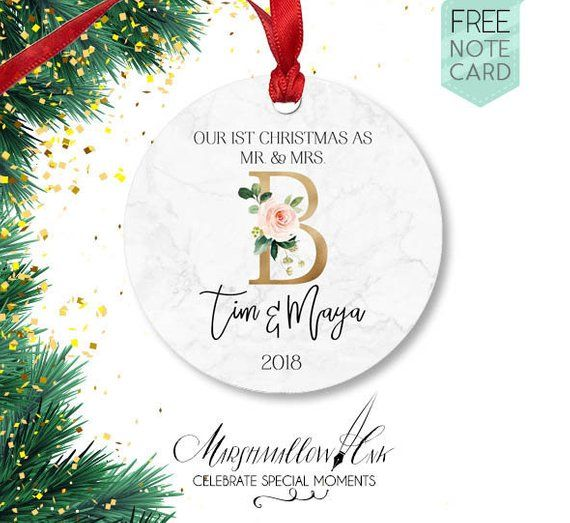 Mr And Mrs Gift First Christmas Wedding Ornament Faux Marble Married Personalized Ideas Newlywed