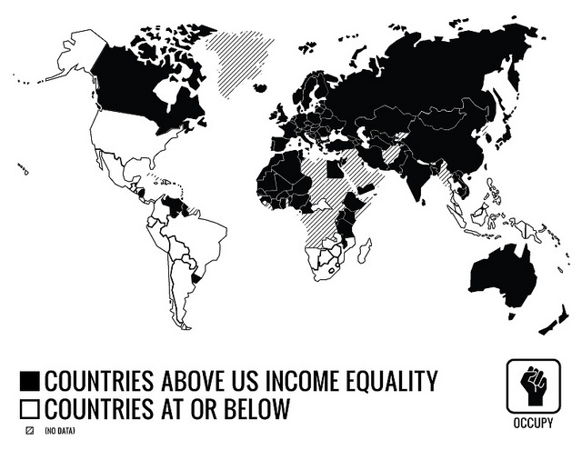 """Income Equality map for Occupy made by @Bianca Prince   ---   """"This index measures the degree of inequality in the distribution of family income in a country. The index is calculated from the Lorenz curve, in which cumulative family income is plotted against the number of families arranged from the poorest to the richest. """"  https://www.cia.gov/library/publications/the-world-factbook"""