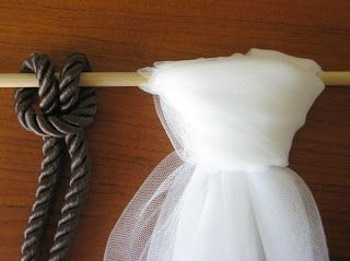 decorating with tulle | The Lark's Head knot as it looks with both a cord and tulle.