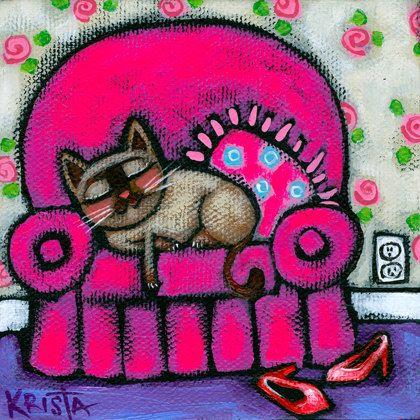 Siamese CAT on Pink Chair Folk Art Cat PRINT by kristaartstudio