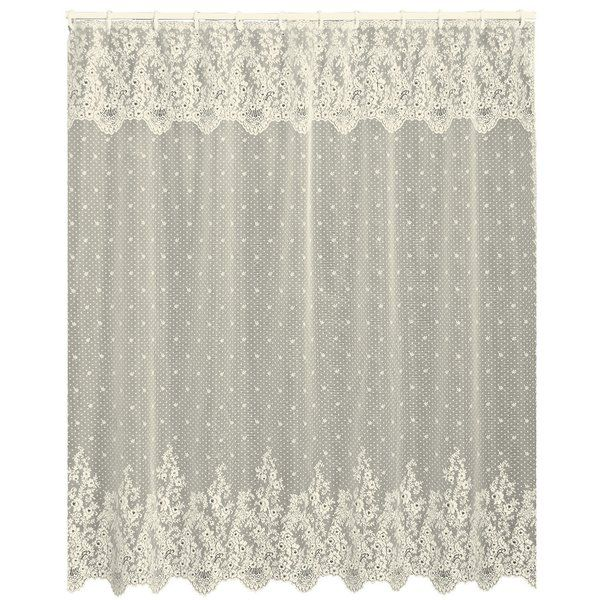 This lovely lace shower curtain makes the perfect complement to your powder room or master bath aesthetic.