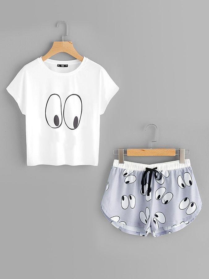 Cartoon Eye Print Tee And Shorts Pajama Set ekkor  2019  a4808de1b8