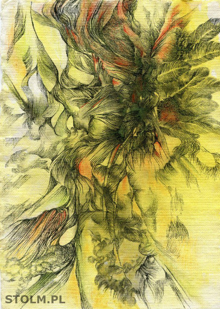 Feather ink on paper artist Stanisława Olszańska Marszałek abstraction art