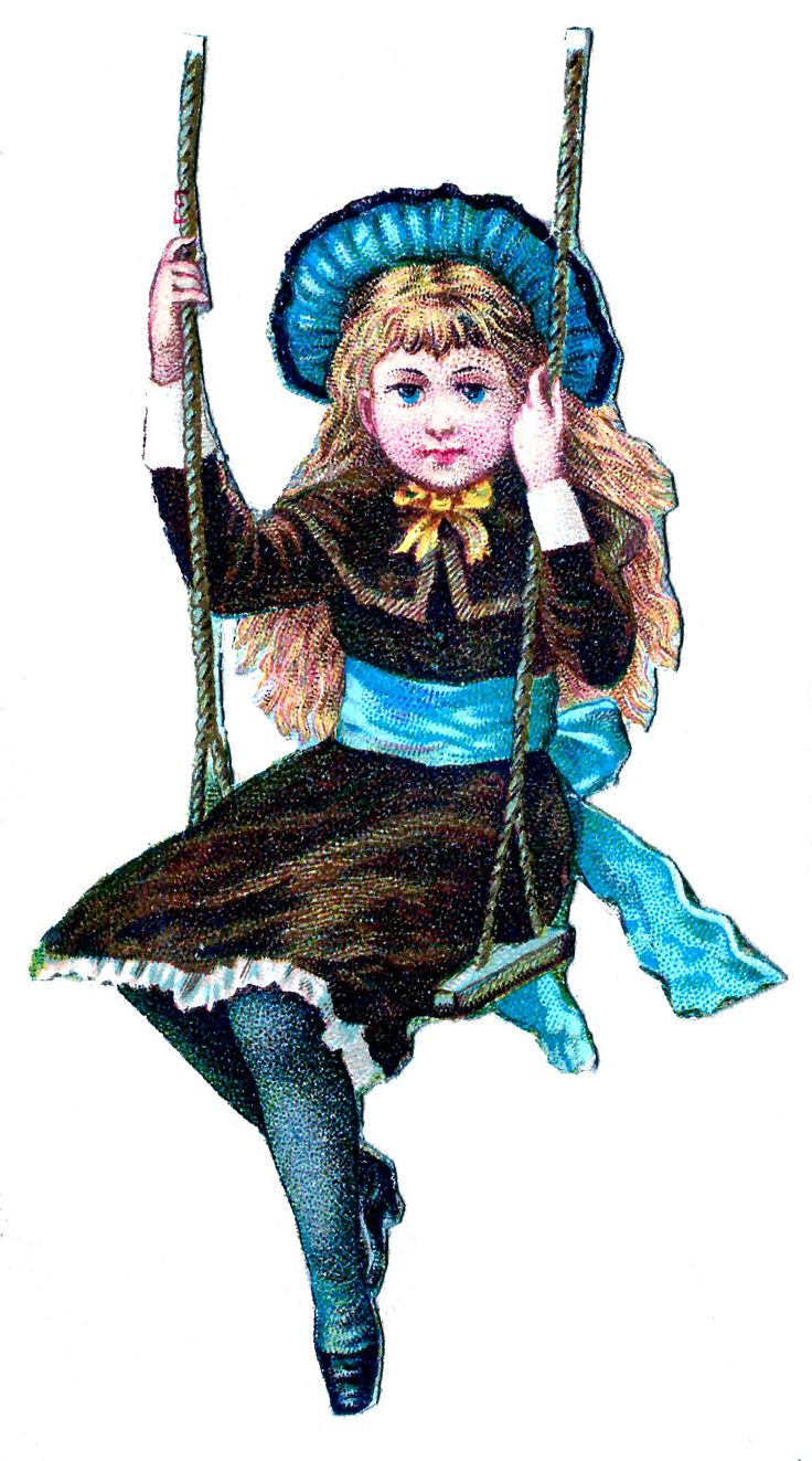 Woman On Swing Vintage | Vintage Clip Art – Little Victorian Girl on Swing