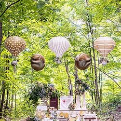 Hot Air Balloon Paper Lantern Set In Gold And White - Wedding Decorations