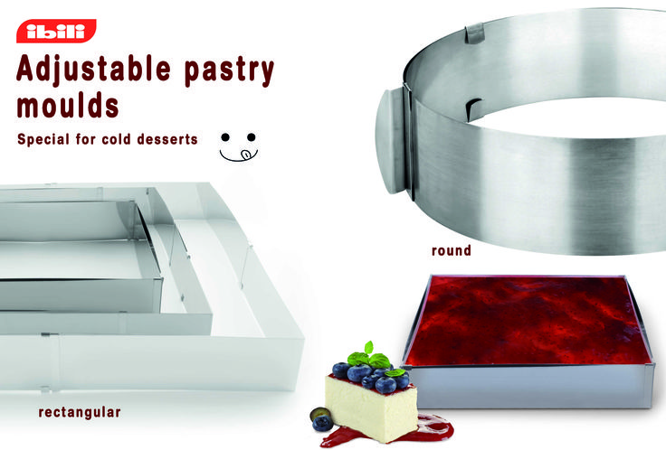 Adjustable pastry moulds, special for cold desserts.
