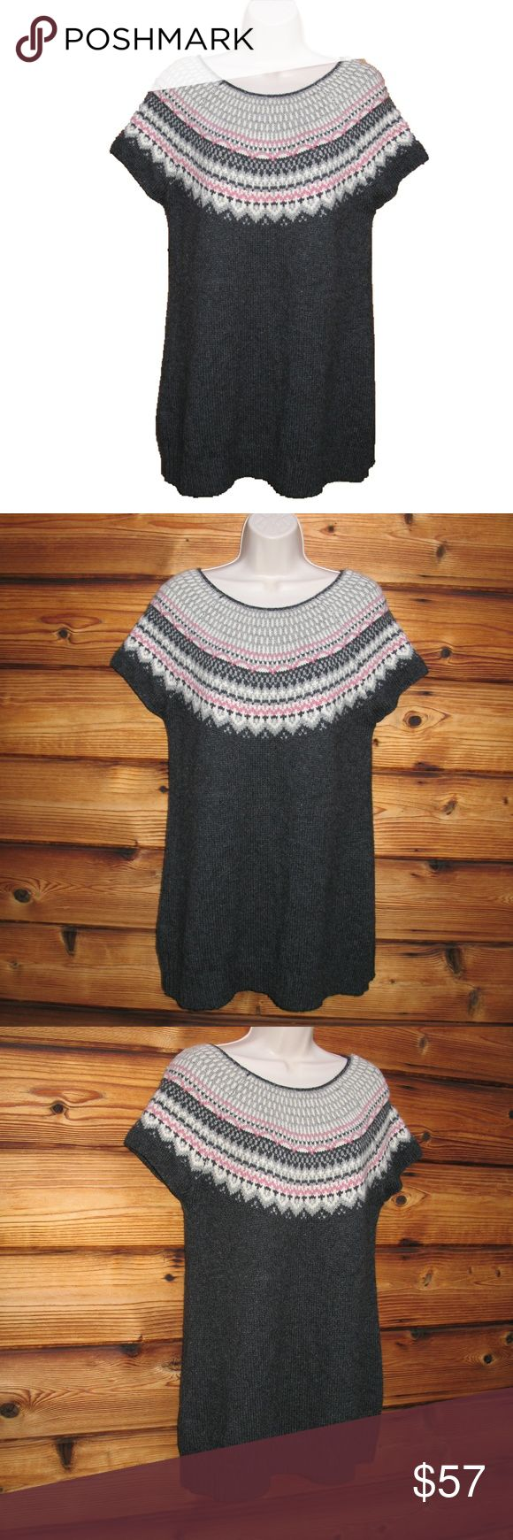 """NEW Ruff Hewn Wool Blend Fair Isle Sweater Tunic L Ruff Hewn Wool Blend Fair Isle Sweater Tunic L  *New without Tags  Details: Ruff Hewn Size: L Color: Charcoal Gray/Pink Pullover style Mini length Short sleeves Tie back 50% Acrylic/25% Wool/25% Nylon  Measurements: Length: 31"""" Bust: 40"""" Waist: 40"""" Ruff Hewn Sweaters Crew & Scoop Necks"""