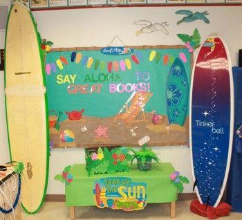 Luau Theme Classroom Display and Bulletin Board Idea: Beaches Theme Classroom Ideas, Luau Theme, Luau Classroom Theme, Schools Ideas, Luau Books, Beaches Bulletin Boards Ideas, Hawaiian Bulletin Boards Ideas, Classroom Displays, Books Fair