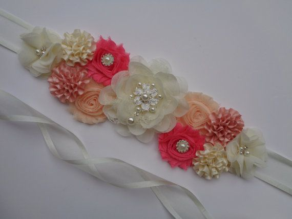 Ivory Coral Peach Maternity Sash ON SALE It's a by Whims4Cuties