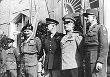 The Supreme Commanders on 5 June 1945 in Berlin: Bernard Montgomery, Dwight D. Eisenhower, Georgy Zhukov and Jean de Lattre de Tassigny