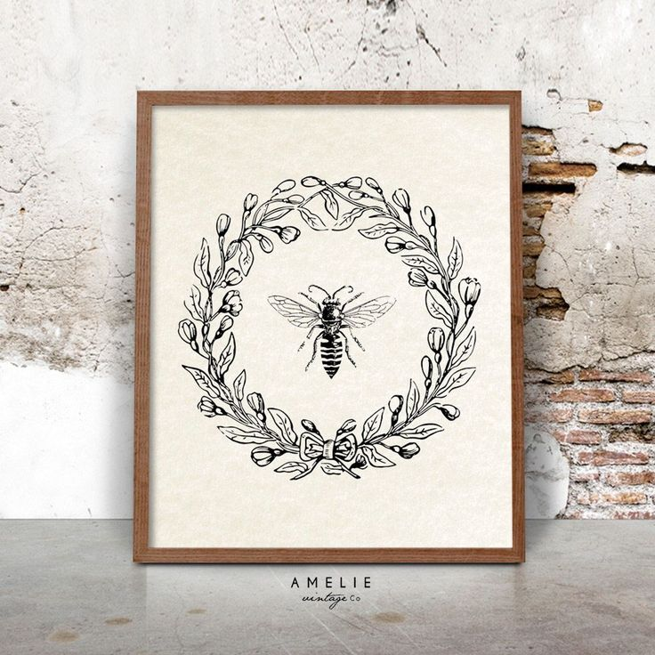 Bee Print, Farmhouse Printable, French Country Decor, Rustic Cottage Wall Art, Vintage Bee Illustration, Printable Download, Wreath by AMELIEVintageCo on Etsy https://www.etsy.com/listing/267316871/bee-print-farmhouse-printable-french