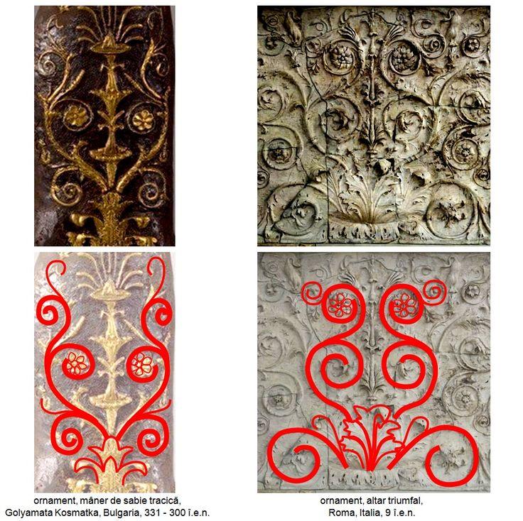 Ornamentica tracică bazată pe simbolismul regenerării ciclice a naturii a fost împrumutată de civilizaţia romană şi se regăseşte în a doua jumătate a secolului I î.e.n. între decoraţiile altarului dedicat păcii, Ara Pacis Augustae (Altarul Păcii Măiestoase).