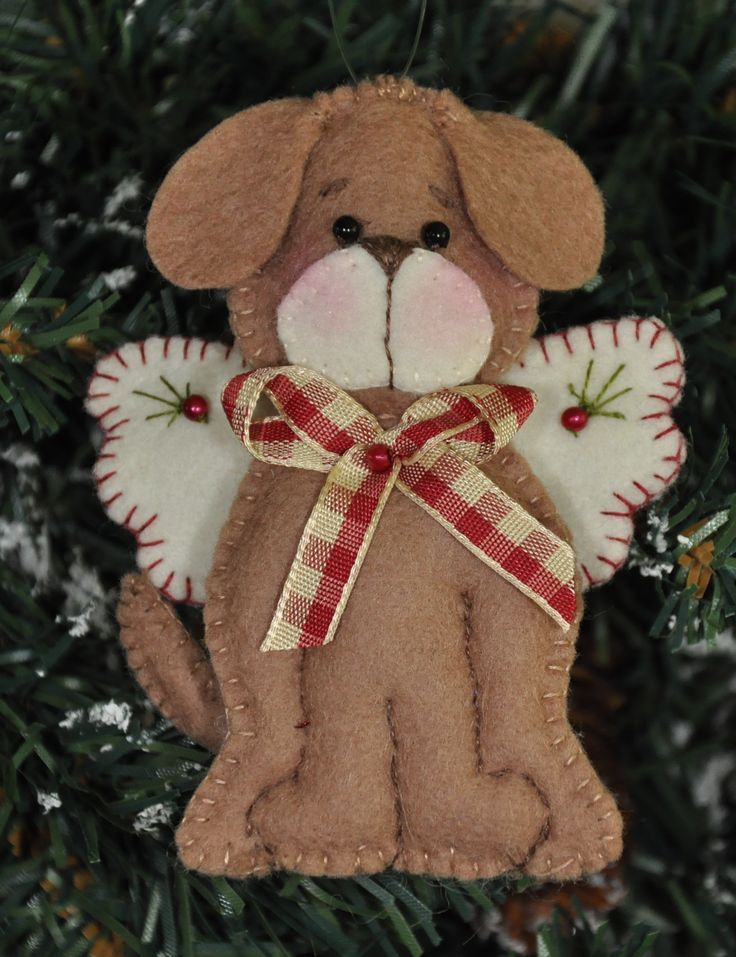 """Engel """"Hondje""""   Kerst   Decoraties   Vilt   Handwerk   zelfmaakpakketjes   Atelier Wilma Creatief"""