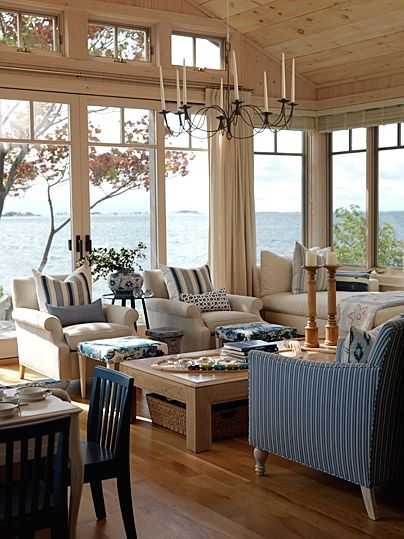 Ceiling - Lake House: Gorgeous fabrics/ceiling/chandy