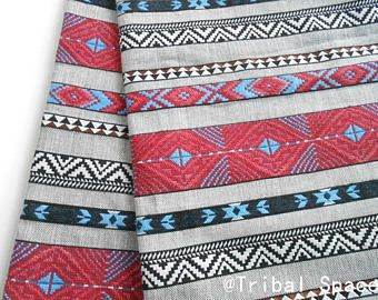 Tela Tribal Boho tela tejida a mano tela Azteca tela