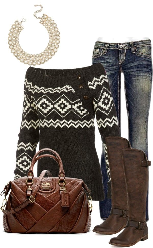 """coach bag and comfy sweater"" by crylee on Polyvore"
