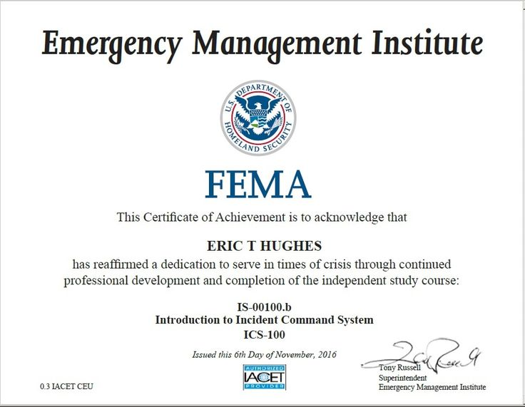 2016-11-06 I passed this FEMA online course regarding an introduction to the incident command system (ICS).