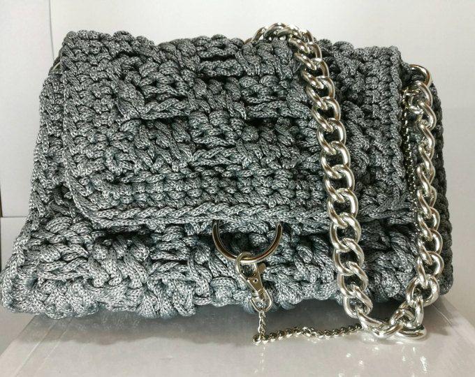 Dark Grey Women's Crochet Handbag with silver metalic embellishment/Knitted
