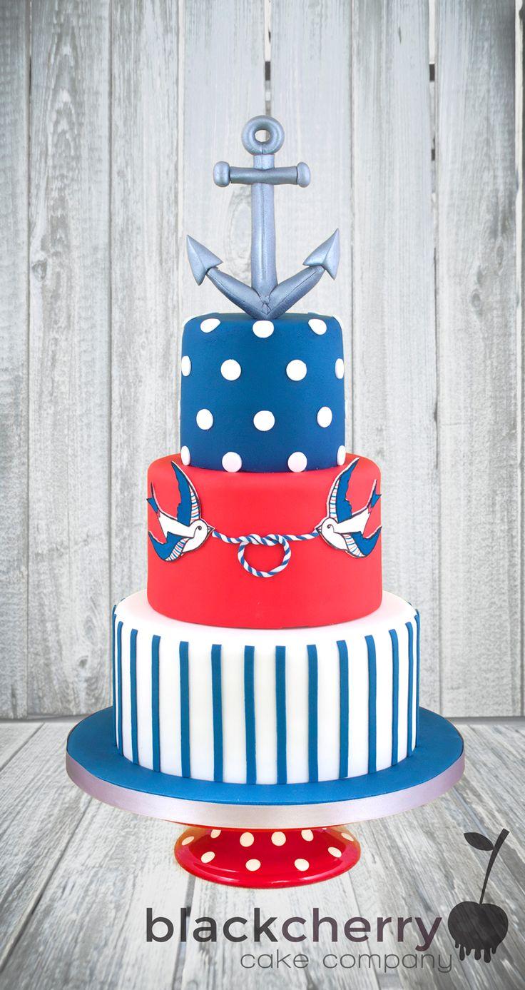 Nautical Tattoo Wedding Cake by Black Cherry Cake Company