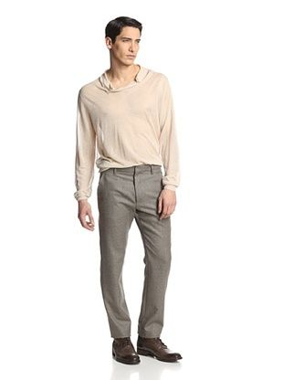 80% OFF Ann Demeulemeester Men's Flat-Front Trousers (Grey Chine)