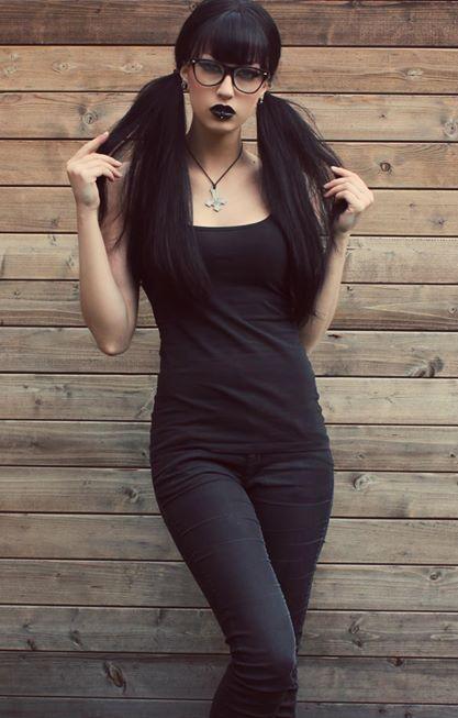 pretty black hair and lipstick