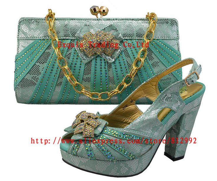 Бесплатная доставка! Итальянская обувь с соответствующими сумка высокое качество италия обувь и сумка для вечер GF8006 воды зеленый размер 38 - 42