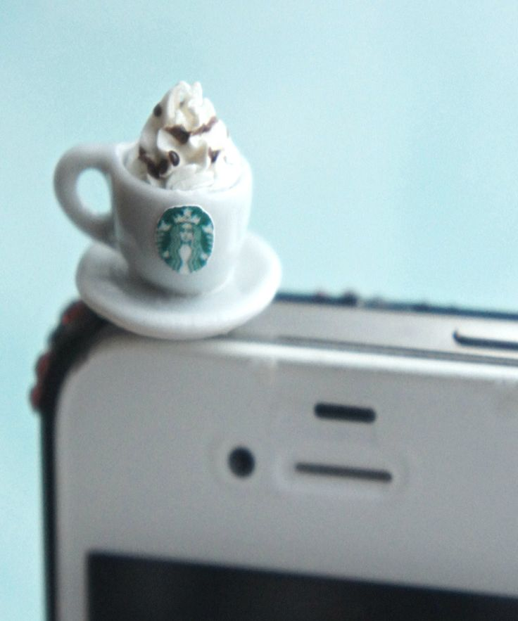 this phone plug features a miniature starbucks coffee cup. it is compatible with iphones, ipads, ipods, Samsung, HTC, and all other electronic devices with earphone plugs/port. Decorate your phone/dev