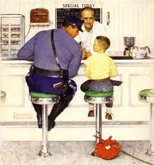 [5] How about a chocolate shake or a cherry coke, son, before we head for home? 'Cuz we can't worry your Mom and Dad can we?    The Runaway, #Norman #Rockwell.   http://maryemartintrilogies.com/?p=7297