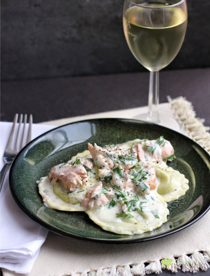 Weeknight Ravioli with Spinach, Salmon, and Boursin Cheese Sauce
