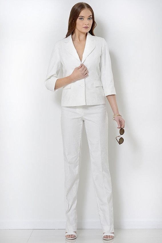 The 'Angie' cotton pant suit with a sharply tailored fully lined jacket is suitable for summer racing fashion, cruising fashion, corporate events, Melbourne Cup,smart casual functions, women who do lunch - Pia du Pradal Park Road and Brisbane Arcade, Brisbane City, online boutique