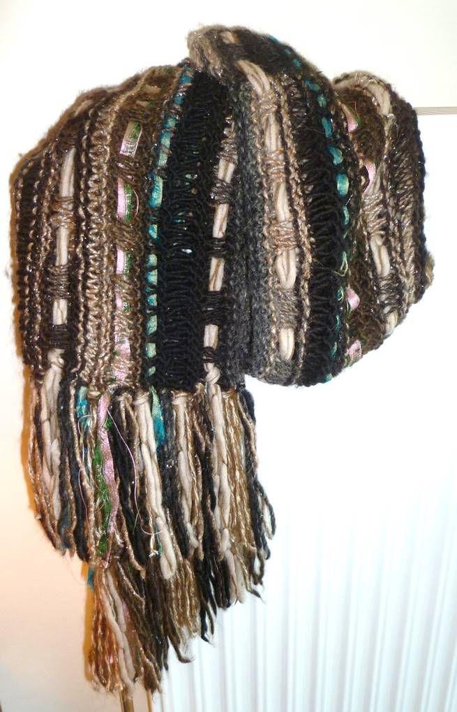 Shawl made with 5 different yarns and sari ribbons.