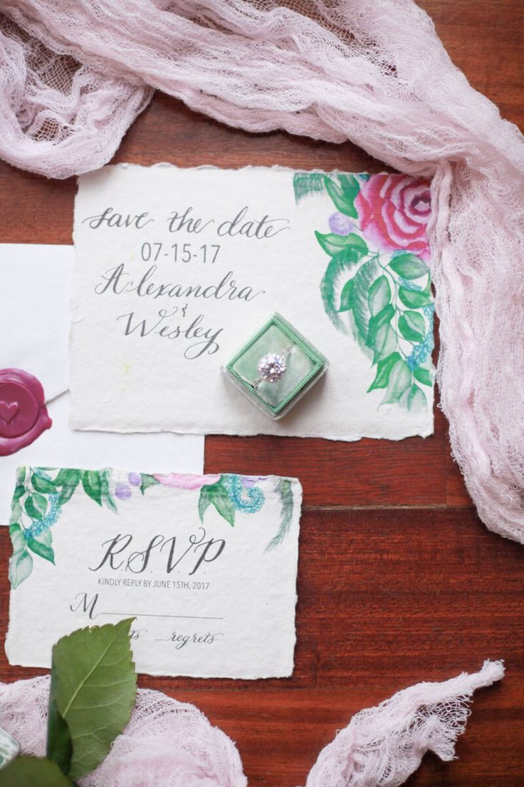 Watercolor invitation suite from a berry hued wedding inspiration