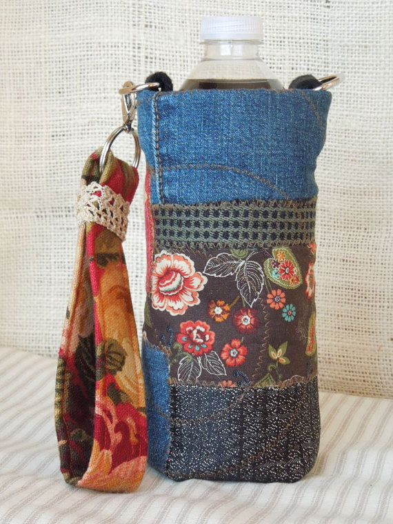 Insulated Fabric WATER CARRIER BAG Cozy Cover-Quilted Boho Bag, Denim Bag, Dragonfly, Checks & Floral