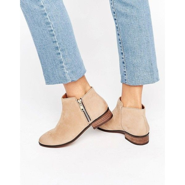 ALDO Julianne Taupe Zip Flat Leather Ankle Boots ($120) ❤ liked on Polyvore featuring shoes, boots, ankle booties, beige, flat ankle booties, taupe booties, flat leather boots, aldo booties and taupe ankle boots
