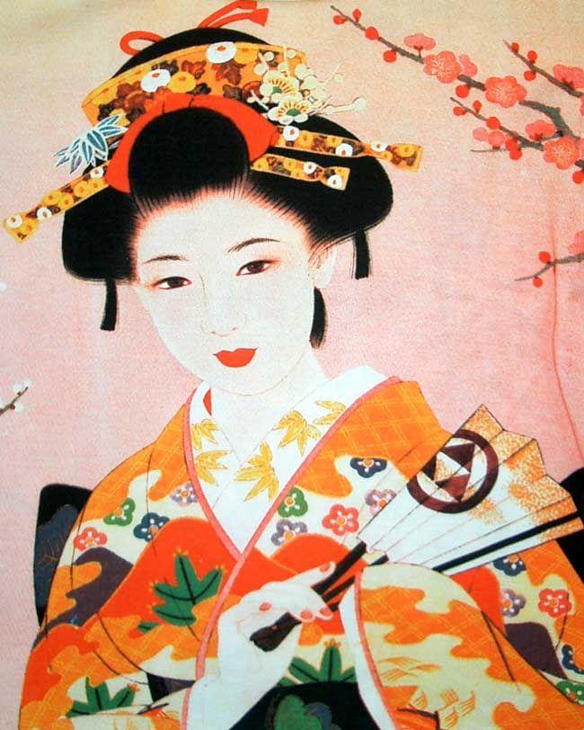 Geisha Paintings   Geisha w Sensu New Japan Art Bag Sling Purse Tote s L   eBay