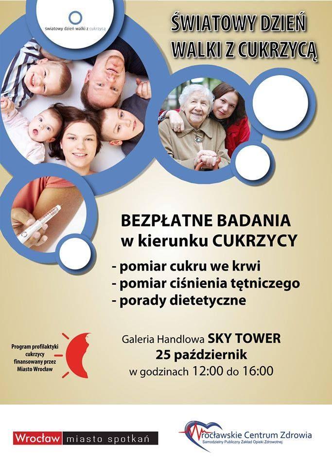 ŚWIATOWY DZIEŃ WALKI Z CUKRZYCĄ.  Bezpłatne badania w GH Sky Tower już w sobotę od godz: 12:00.  szczegóły: https://www.facebook.com/events/650177648436522/  Serdecznie zapraszamy!