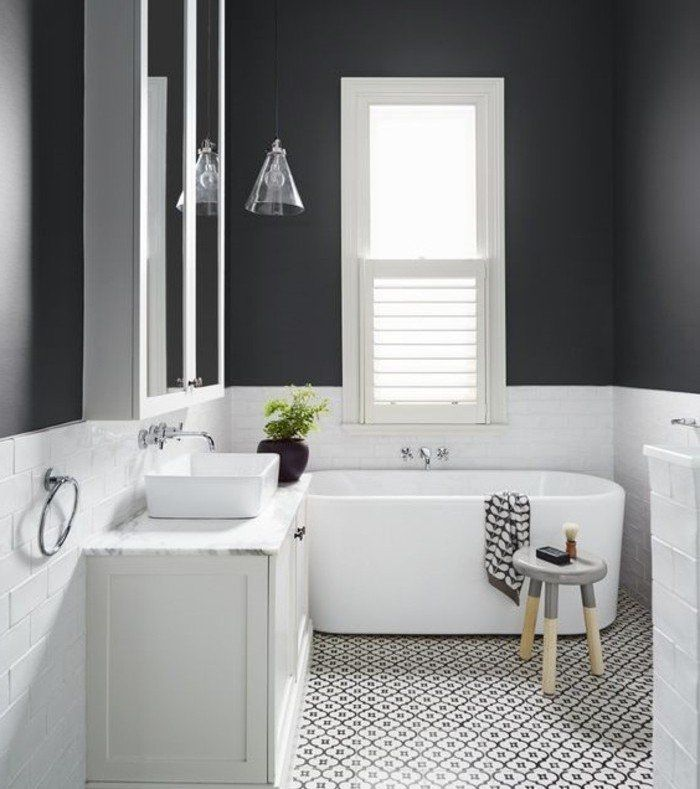 ide gniale salle de bain taupe baignoire poser vasque poser carrelage - Salle De Bain Noir Et Taupe