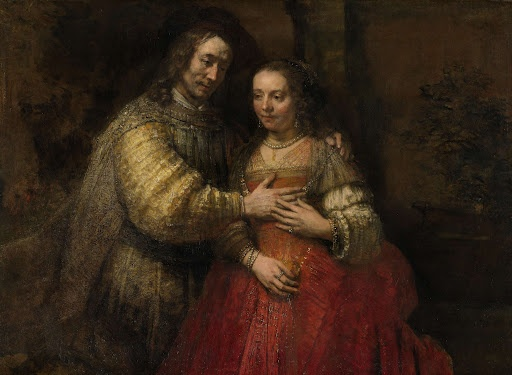 The Jewish bride, Rembrandt Harmensz. van Rijn, 1665.  It seems that Rembrandt painted his subjects as the biblical couple, Isaac and Rebecca. Its popular name, the Jewish Bride, is a later invention.  The portrait is painted with an extraordinarily free hand, as in the sleeve, where the paint is especially thick and shaped to reflect the light.