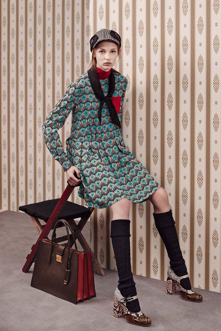 platform mary-janes + knee-high socks + printed frock + hunter cap--Miu Miu Pre-Fall 2015