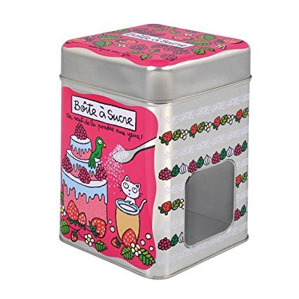 Scatola in metallo porta zucchero con finestrella.  Io l'ho usata per metterci le gomme profumate!!! Sono scatole bellissime che si possono  usare in moltissimo modi. Regali graditi... nel caso ;)