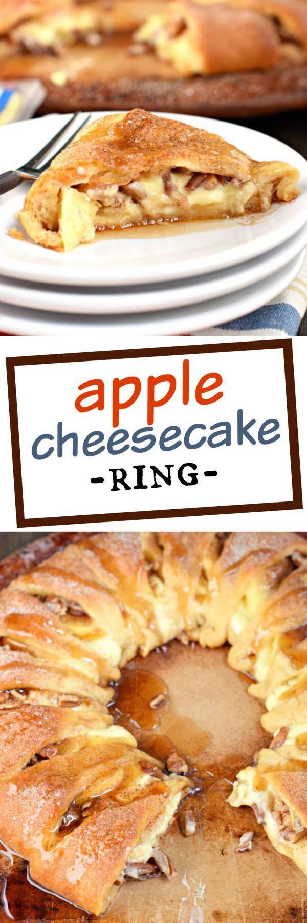Este anillo de queso de Apple es el desayuno perfecto de vacaciones, o servir a su familia para el brunch!  Te encantará la inusual corteza media luna rollo, el relleno de queso dulce y la contracción de las manzanas!