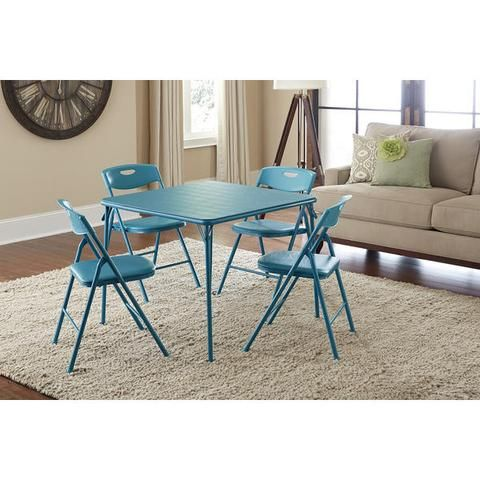 5-piece Card Game, Party Event Folding Table and Chairs Set, Teal