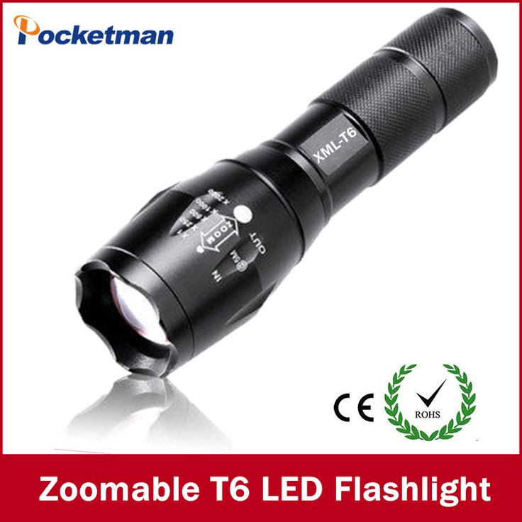 E17 cree xm-t6 3800 lumens cree led zaklamp zoomable cree led zaklamp zaklamp voor 3 aaa of 1x18650 gratis verzending