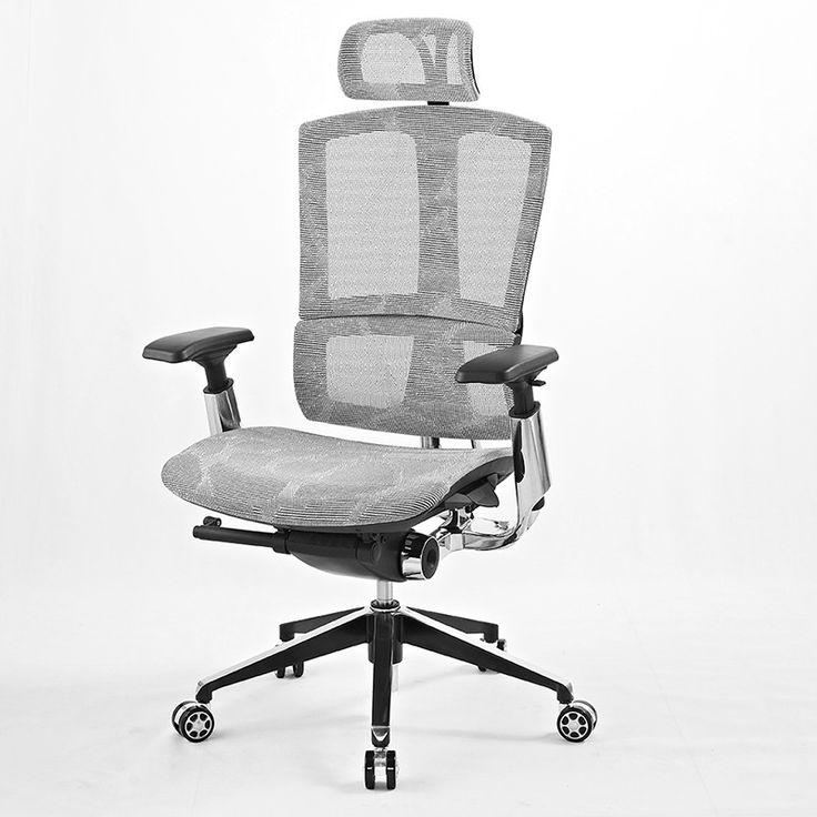 Cadeira de Escritório Modelo Presidente Ergonômica em Tela Mesh Encosto Alto + Apoio Cabeça Estrutura toda em Alumínio SUPER LUXO